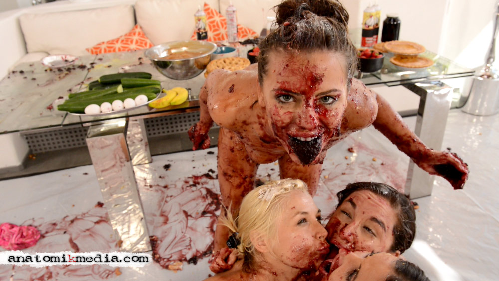 Messy Girls 2 Adriana Chechik fills her mouth with grape jelly