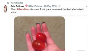 Sasha Heart lost tomatoes in her asshole and they came out 2 days later