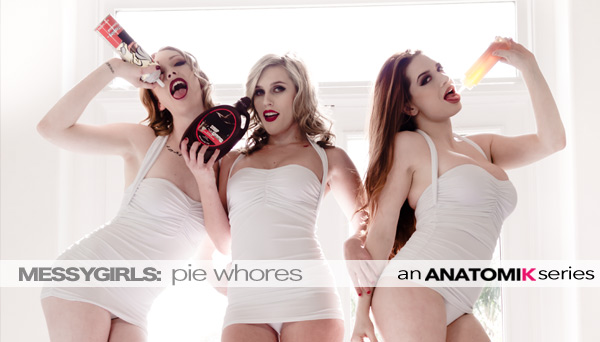 Veronica Vain Food Porn - Anatomik Media's Messy Girls 3 - Pie Whores - Starring Veronica Vain, Sasha Heart and Katy Kiss