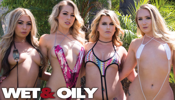 Wildly hot, insanely experimental, NURUsexual, Coconut oiling, dildo inserting slimy sex party featuring Zoey Monroe, Kat Dior, Sasha Heart, AJ Applegate