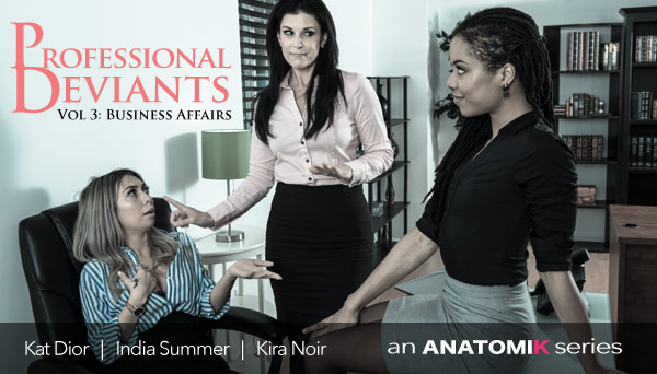 Lesbian Office Threesome in Stockings - Business Affairs starring India Summer, Kira Noir, Kat Dior